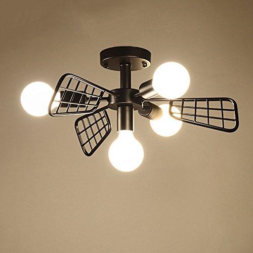 Decorazione creativa Minimalista moderno LED 4 luces Ventilador de hierro Luz de techo Norte de Europa...