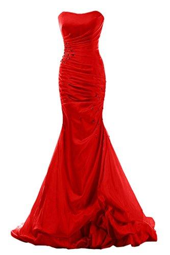 Gorgeous Bride Elegant Traegerlos Lang Meerjungfrau Taft Brautkleider Abendkleider Festkleider -36 Rot (Brautkleid Meerjungfrau Taft)