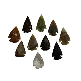 10 pcs Flint Knapping Arrowheads 2.5 to 3.5cm Stone Age Reproductions
