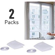 moustiquaire fenetre, Elebor 2 packs 1.3 m x 1.5 m fenêtre Moustiquaire Filet en maille filet avec rouleau de ruban adhésif Blanc