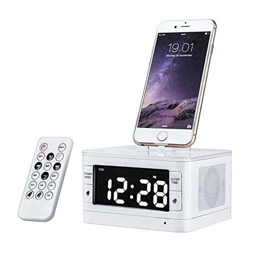 Bzng Bluetooth Wecker Radio mit Stereo Lautsprecher, FM-Radio, USB-Laden, Aux-Eingang, LED-Anzeige, und Smartphone Dock | Schwarz