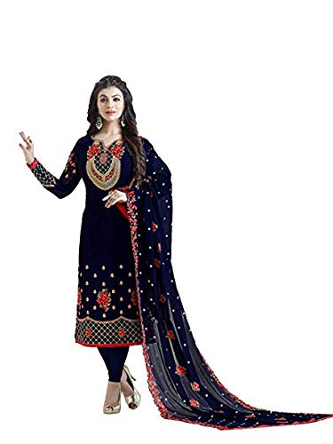 MONIKA SILK MILL Women\'s Georgette Dress Material (MSMLavina 21004_Blue_Free Size)