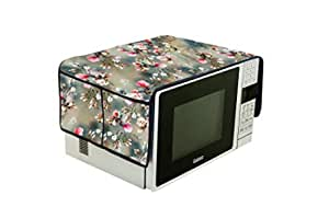 Visnik PVC Printed Microwave Oven Top Cover with Pockets (Grey)
