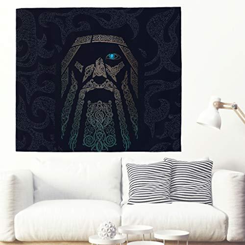Viking Odin Wandteppich Tapestry Psychedelisch Tapisserie Wandtuch Hippie Wall Hanging,Wanddeko Indisch Wandbehang Strandtuch,Tagesdecke,Tuch,Picnic Throw white 100x150cm (Psychedelische Hippie Kostüm)