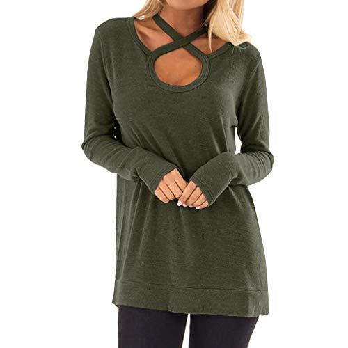 Toamen semplice pullover a tinta unita sexy camicetta a maniche lunghe vestibilità slim con scollo barchetta con scollo a croce casual da donna(verde,2xl)