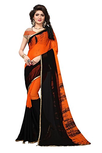 Purvi Fashion Women's Chiffon Saree With Blouse Pics (RED WOMEN_Black Colour_Free Size)...