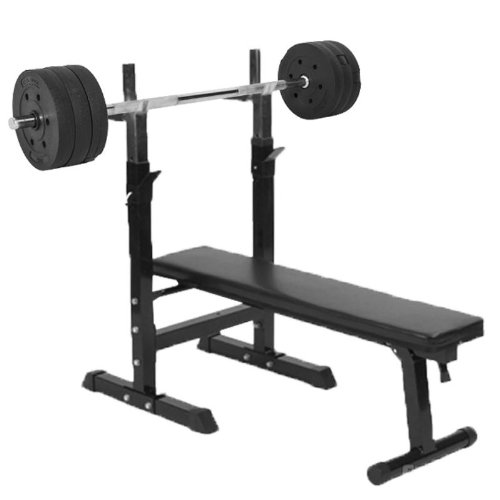 41goGhQ50JL. SS500  - Gorilla Sports Weight Bench with 38KG Vinyl Weight Set