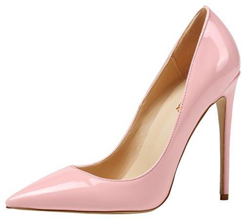 AOOAR Damen High Heel Klassische Abendschuhe Rosa Lackleder Pumps EU 41 Rosa Stiletto Heel