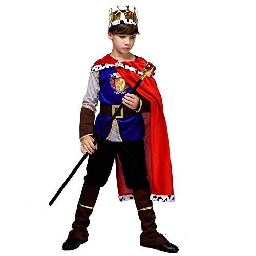 SEA HARE Jungen Deluxe Mittelalter König Kostüm (L :10-12 Jahre) (Kind's Royal Prinz Kostüm)