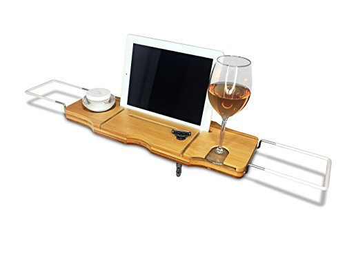 Mensola per Vasca da Bagno Galeara design Varzo Bambù con supporto Tablet Smartphone
