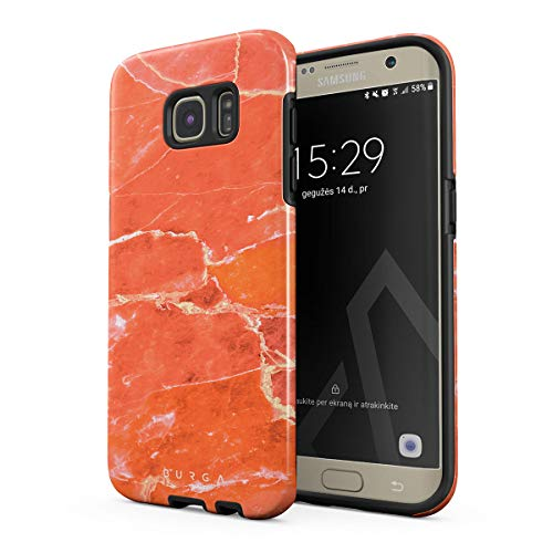 BURGA Hülle Kompatibel mit Samsung Galaxy S7 Edge Neon Ornage Peach Coral Marble Stone Pfirsich Koralle Marmor Stein Sommer Robustes Stoßfestes Doppellagiges Hardcase + Silikon Handyhülle Case Cover - Coral Edge