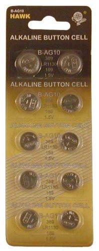 Preisvergleich Produktbild 10 Piece Card Alkaline Button Cell Batteries - Size LR1130 / 189 : (Pack of 2 Sets) (Hawk: BA-80211-Z02)
