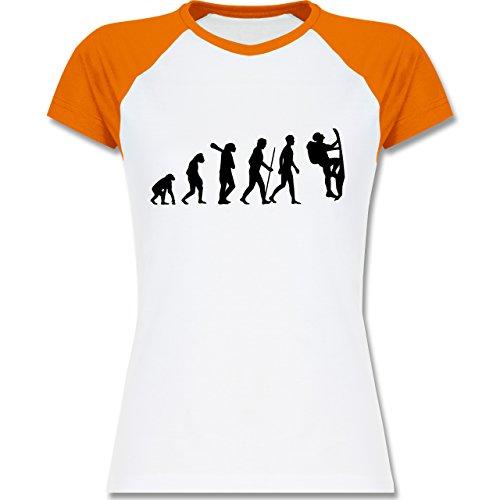 d8eba020e53df5 Evolution - Klettern Evolution - zweifarbiges Baseballshirt   Raglan T-Shirt  für Damen Weiß