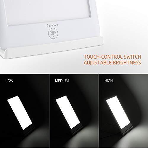 Lampe de Luminothérapie SAD, Zanflare Lumineux Réglable 10 000 Lux avec Support Multi-Angle, 3 Modes de Luminosité