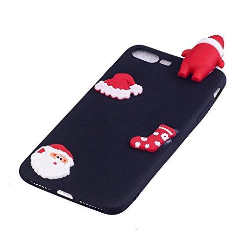 Cover iPhone 7 Plus Natale Santa Custodia Bello 3D Cartoon Sollievo Proiezioni Modello Cappello Calzini Natale Mottif Ultra Magro Sottile Silicone TPU Case Gomma Flexible Caso Colore Puro Fresco Caram Nero Santa