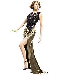 Nuevo bronce metálico y Negro y de lentejuelas de malla Cut Out diseño de sirena vestido de cóctel vestido largo de noche fiesta Prom Vestido Fiesta Vestido Tamaño L UK 12