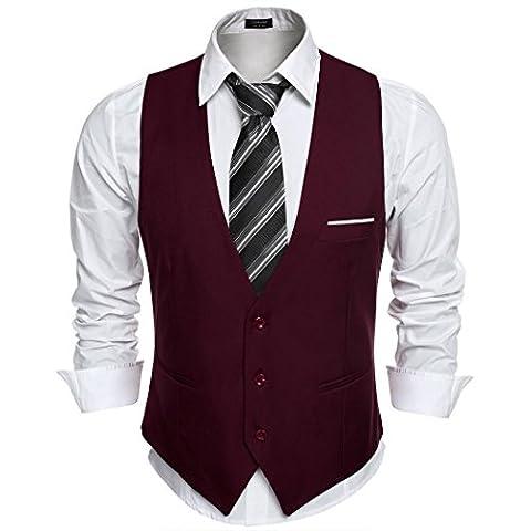 Coofandy Gilet de Costume Homme Veste sans Manche Business Mariage Taille XL