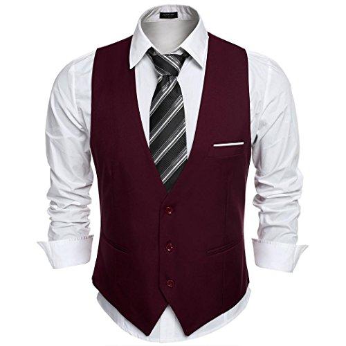 Coofandy Gilet de Costume Homme Veste sans Manche Business Mariage Taille XXL