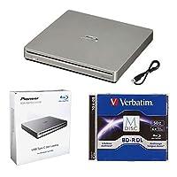 باقة محرك اقراص بلوراي محمول 6 اكس من بايونير BDR-XS07S مع كابل M-DISC BD-R DL وUSB 50 جيجا - يحرق أقراص CD DVD BD DL BDXL