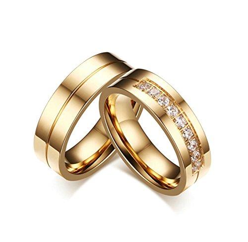 Beydodo 1 PCS Trauringe Damen Ring Edelstahl Hochglanzpoliert Weiß Zirkonia Breite 6MM Trauringe Freundschaftsringe Paarringe Gold Größe 60 (19.1)