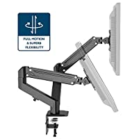 """1home Full Motion Height Adjustable Ergonomic Counter-Balance Gas Powered Dual Twin Arms Desk Mount Stand for 13""""-27"""" LCD Monitors Tilt Swivel 