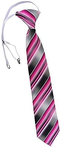 TigerTie cravate pour les enfants en rosé pink magenta anthracite argent gris rayé - cravate pré-liée élastiquée