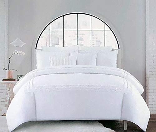 Hotel Collection Bettwäsche-Set, 3-teilig, einfarbig, Weiß mit strukturierten Fransen, bestickte Streifen (Full/Queen)