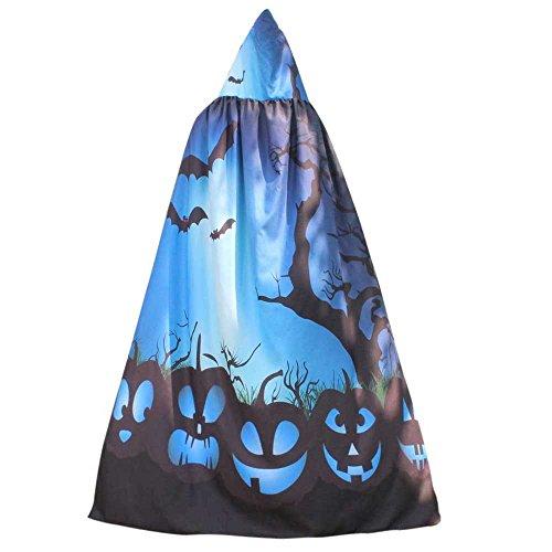 Garten Hexe Kostüm - UJUNAOR Männer Frauen Neuheit Pumpkin Print Cape Schal Halloween Poncho Schal Wrap Kostüm für Camping Outdoor Aktivitäten(Blau,One Size)