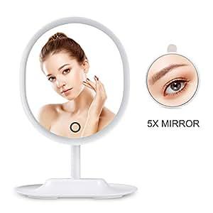 HAMSWAN RM223-DL Specchio di Forma Ovale con Specchietto di Ingrandimento (5x) con lo Schermo Attivabile al Tatto (Bianco)