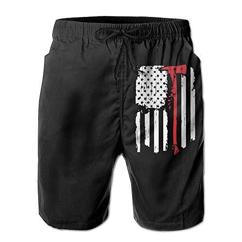 2011943ec4 Pillowcase shop Firefighter Red Line American Flag Men's Swim Trunks Beach  Short Pants Quick Dry Board