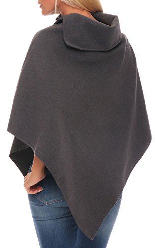 malito Poncho avec Col Gilet Veste Enrouler Boléro Boutons Cardigan Capot Oversize Pull Casual Basic 3824 Femme Taille Unique gris foncé