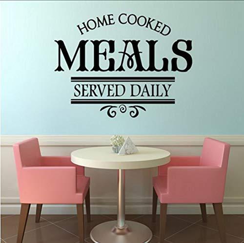 Dalxsh Hausgemachte Mahlzeiten Serviert Täglich Restaurant Wandaufkleber Küche Wanddekor Aufkleber Vinyl AbnehmbareWandtattoosEinfache Design57X44 ()