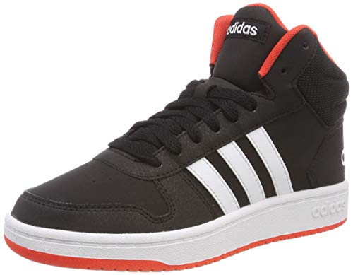 adidas Unisex-Kinder Hoops MID 2.0 K Basketballschuhe, Schwarz Core Black/FTWR White/Hi/Res Red S18, 36 EU