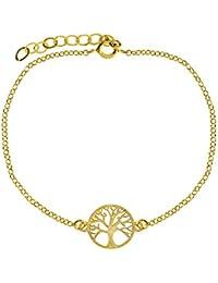 Córdoba Jewels | Pulsera realizada en plata de ley 925 bañada en oro. Diseño con árbol de la vida. Cierre ajustable con reasa. Medidas:18 cm. Pieza:15 mm