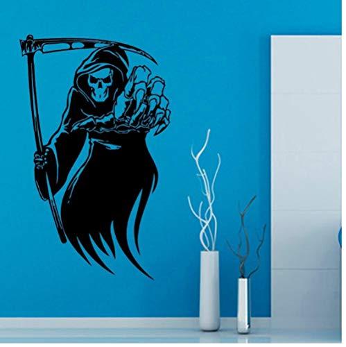 �del Tod Braid Skeleton Sichel Wohnzimmer Vinyl Carving Wandtattoo Aufkleber für Holiday party Home Decor 58x94 cm ()