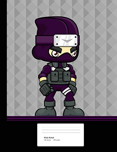 Ninja Boy Composition Book: Notebook Wide Ruled Paper 200 pages 100 sheets