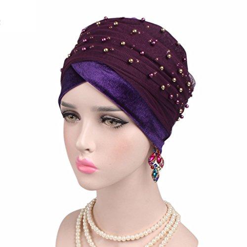 Lergo Frauen Turban Sweet Perlen Headwrap Farbe Mütze Elastisch Gap Plissiert Hat...