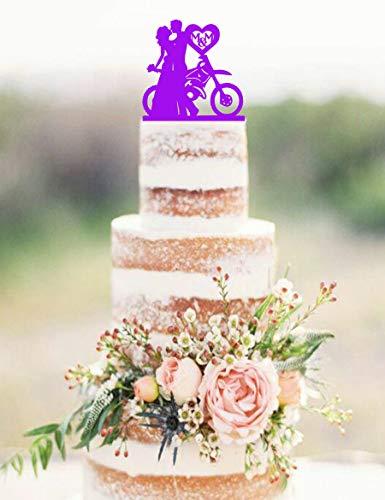Andrea1Oliver Dirt Bike Paar Hochzeitstorte Topper Dirtbike Cake Topper Hochzeitstorte Topper Dirt Bike Hochzeitstorte Topper Silhouette Kuchen Top (Birthday Party Dirt Supplies Bike)