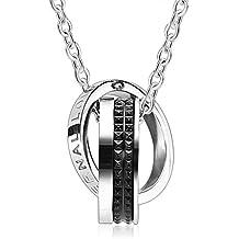 AnaZoz Joyería de Moda Collar de Unisex Acero Inoxidable 2 Pcs Parejas CZ Dos Anillo Enclavamiento Collar Para Pareja