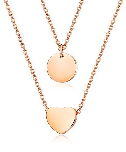 BE STEEL 2 STÜCKE Edelstahl Herz Anhänger Halskette Münze für Damen Mädchen Wafer Kette Charme Einstellbar Set Silber/Gold/Rose Gold