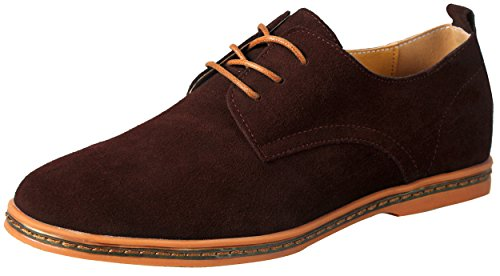 schuhe herren leder Braun 41  Schnürhalbschuhe Men's Leather Suede Oxfords Shoes Lace Up Brogues (Leder-sohle-lace Up Schuh)