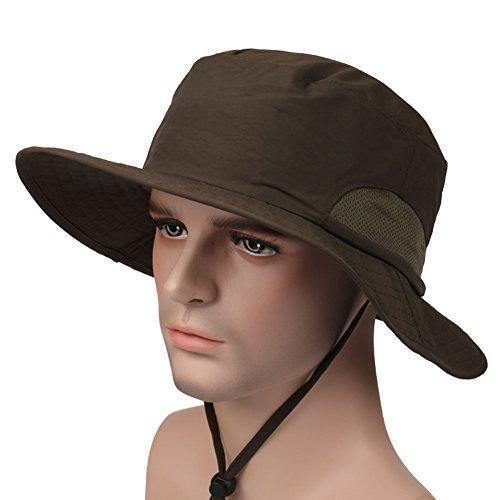 Leories Outdoor Schnell trocknende Hut UV-Schutz Camping Hut Sonnenhut Angelkappe, Damen Jungen Unisex Herren, Armee-grün, One Size -