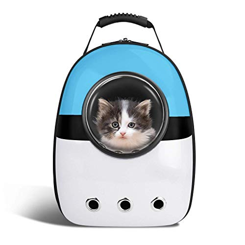 Portable space capsule pet carrier zaino, pet bubble dome traveler zaino fori d'aria multipli borsa leggera impermeabile per gatti petite dogs & small animals,blue