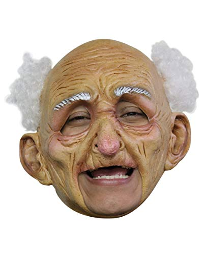 Horror-Shop Opa Maske mit weißen Haaren - One Size - Latex