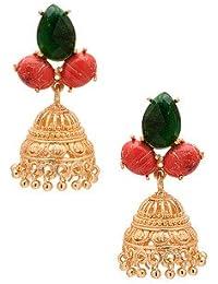 Voylla Golden Jhumki's Adorned With Pink-Green Stones