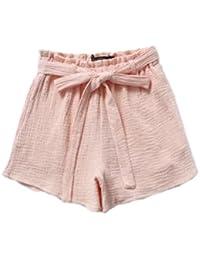 62a891dedc285 yulinge Mujeres Pantalones De Algodón Y Lino con Cinturón De Talle Alto  Solido Beachwear