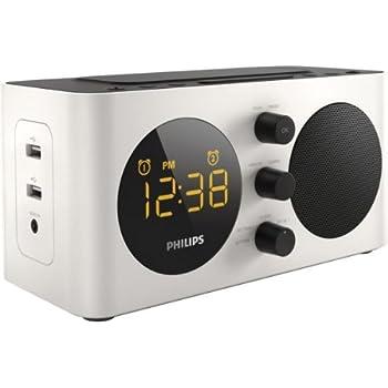 philips aj6000 radio r veil avec tuner fm deux ports usb de recharge prise aux batterie de. Black Bedroom Furniture Sets. Home Design Ideas