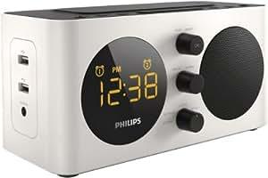 Philips AJ6000 Radio réveil avec tuner FM, deux ports USB de recharge, prise AUX, batterie de secours, double alarme, Blanc