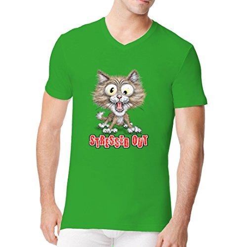 Fun Sprüche Männer V-Neck Shirt - Fun Shirt: Stressed Out Kitty by Im-Shirt Kelly Green