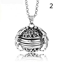 ASOSMOS Expanding Photo Locket Necklace Pendant Gift Jewelry Decoration for Women Lady (silver+silver)